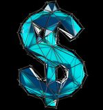 Dollar sign made in low poly style blue color isolated on black background. Stock Photos