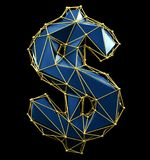 Dollar sign made in low poly style blue color isolated on black background. vector illustration