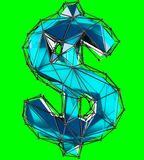 Dollar sign made in low poly style blue color isolated on green background. 3d rendering Stock Illustration