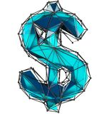 Dollar sign made in low poly style blue color isolated on white background. royalty free stock photos