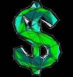 Dollar sign made in low poly style green color isolated on black background. 3d rendering royalty free stock images