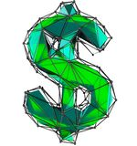 Dollar sign made in low poly style green color isolated on white background. royalty free stock photo