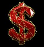 Dollar sign made in low poly style red color isolated on black background. royalty free stock photo