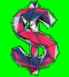 Dollar sign made in low poly style red color isolated on green background. 3d rendering Royalty Free Stock Photos