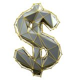 Dollar sign made in low poly style silver color isolated on white background. royalty free stock images