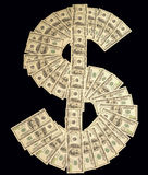 Dollar sign. Made with many 100 dollar banknotes isolated on black background Stock Photos