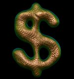 Dollar sign made of natural gold snake skin texture isolated on black. 3d. Rendering royalty free illustration