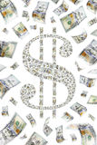 Dollar Sign. Made up of hundreds of individual bills surrounded by falling money Royalty Free Stock Image