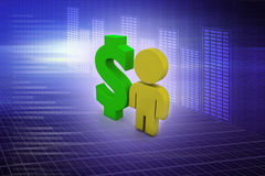 Dollar sign with man Royalty Free Stock Photo