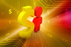 Dollar sign with man Stock Photo