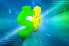 Dollar sign with man Stock Photos