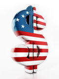Dollar sign mapped with American flag texture. 3D illustration.  Stock Image