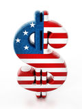 Dollar sign mapped with American flag texture. 3D illustration.  Royalty Free Stock Images