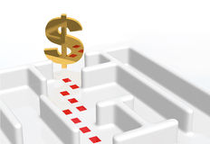 Dollar Sign And Maze. Maze and a dollar sign at the end Stock Images
