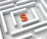Dollar Sign In Maze Shows Dollars Credit Royalty Free Stock Photography