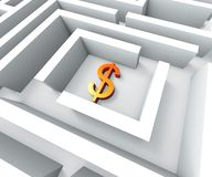 Dollar Sign In Maze Shows Finding Dollars Royalty Free Stock Photo