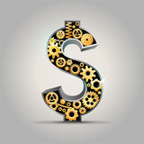 Dollar sign. A dollar sign in mechanical style Stock Photography