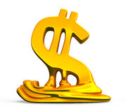 Dollar sign melts and decreases. Conceptual finance illustration Stock Image