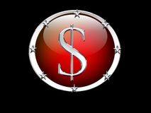 Dollar sign with metal and stars Stock Images