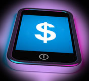 Dollar Sign On Mobile Shows $ Currency Stock Photos