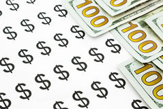 Dollar sign and money currency banknotes stock images