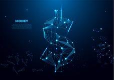 Dollar sign, money dollar icon - currency dollar bill symbol. Polygonal wireframe mesh art, poly low. Vector stock illustration