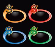 Dollar sign on multicolored rings Stock Images