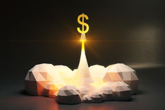 Dollar sign off from spaceport, polygonal style concept Royalty Free Stock Images