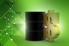 Dollar sign with oil barrel. In color background vector illustration