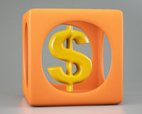 Dollar sign in orange box Royalty Free Stock Photos