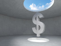 Dollar sign over the light hole space on floor up to the sky in concrete room. Royalty Free Stock Image