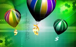 Dollar sign and parachute Stock Photography