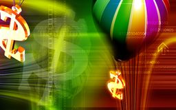 Dollar sign and parachute Stock Image