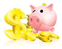 Dollar sign piggy bank Stock Photos