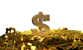 Dollar sign on a pile of other currency symbols Stock Photos