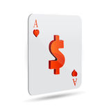 Dollar sign in playing card. Illustration of dollar sign in playing card on white background Stock Images
