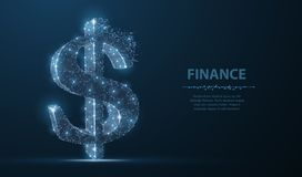 Dollar sign. Polygonal mesh art looks like constellation. Concept illustration or background vector illustration