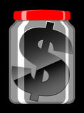 Dollar sign in preserving jar Royalty Free Stock Photo