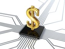 Dollar sign on processor. Royalty Free Stock Images