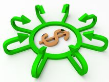 Dollar sign with profit arrows Royalty Free Stock Photo