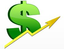 Dollar Sign / Profits Up Stock Photography