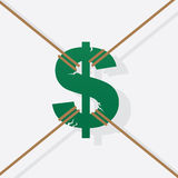 Dollar Sign Pulled Rope Royalty Free Stock Images