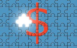 Dollar sign on a puzzle with missing piece Stock Photography