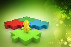 Dollar sign in puzzle piece Stock Photos