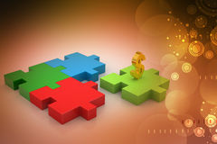 Dollar sign in puzzle piece Royalty Free Stock Photos