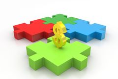 Dollar sign in puzzle piece Stock Image