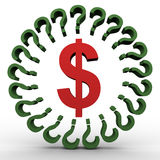 Dollar sign and question marks Stock Photos