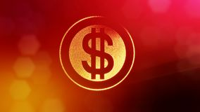 Dollar sign in rings. Finance background of luminous particles. 3D loop animation with depth of field, bokeh and copy. Space for your text vector illustration