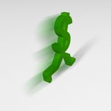 Dollar Sign, Running Away. A green dollar sign with legs running away from the viewer Stock Photo