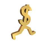 Dollar Sign Running Away royalty free illustration